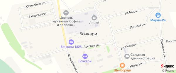 Набережный переулок на карте села Бочкарей с номерами домов