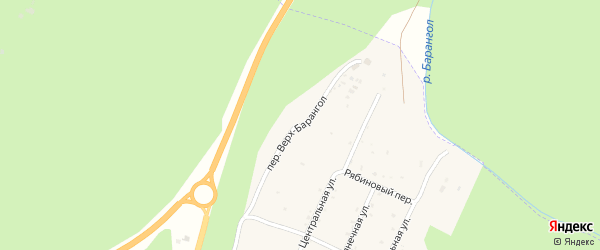 Переулок Верх-Барангол на карте поселка Усть-семы с номерами домов