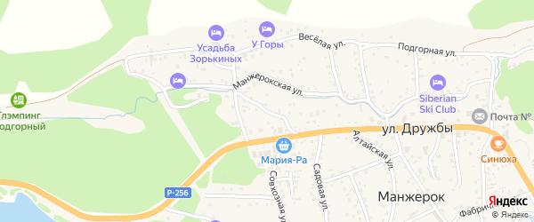 Переулок Дружбы на карте села Манжерка с номерами домов