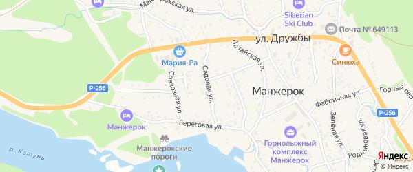 Садовая улица на карте села Манжерка с номерами домов