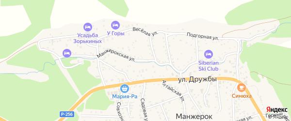 Манжерокская улица на карте села Манжерка с номерами домов