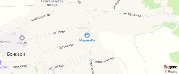 Советская улица на карте села Бочкарей с номерами домов