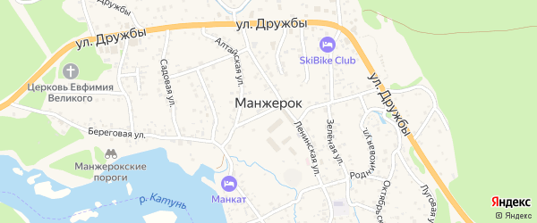 Родниковый переулок на карте села Манжерка с номерами домов