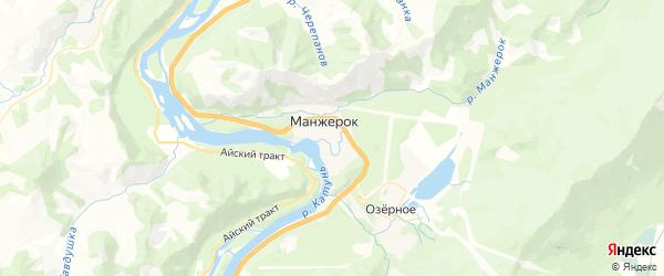 Карта Манжерокского сельского поселения республики Алтай с районами, улицами и номерами домов