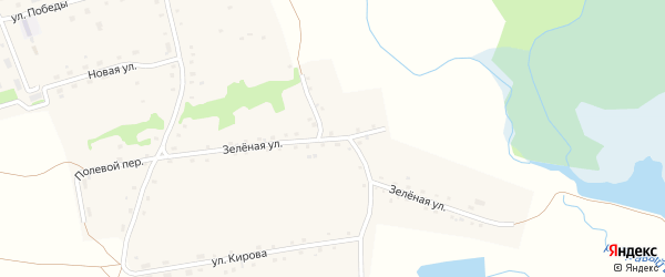 Зеленая улица на карте села Бочкарей с номерами домов