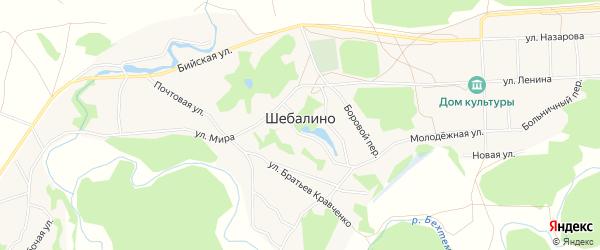 Карта села Шебалино в Алтайском крае с улицами и номерами домов