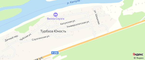 Соузгинская улица на карте поселка т/б Юность с номерами домов