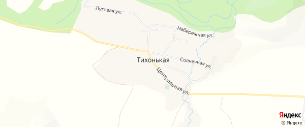 Карта села Тихонькой в Алтае с улицами и номерами домов