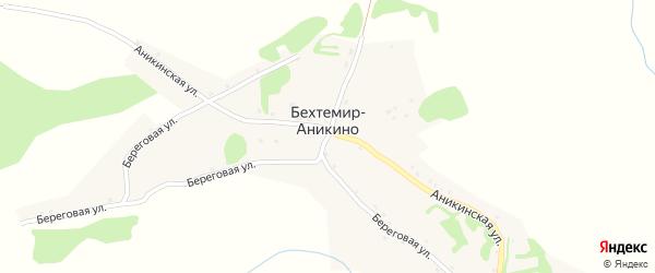 Центральный переулок на карте поселка Бехтемир-Аникино с номерами домов