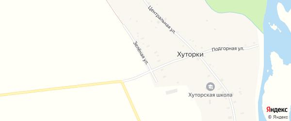 Зеленая улица на карте села Хуторки с номерами домов
