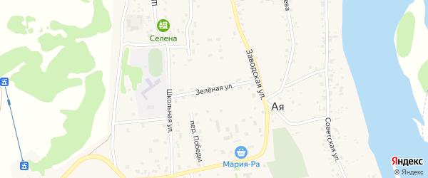 Зеленая улица на карте села Аи с номерами домов