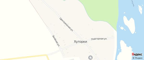 Центральная улица на карте села Хуторки с номерами домов