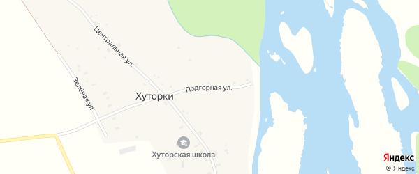 Подгорная улица на карте села Хуторки с номерами домов