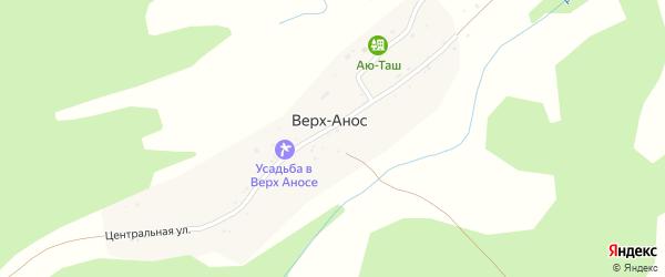 Центральная улица на карте поселка Верха-Аноса с номерами домов