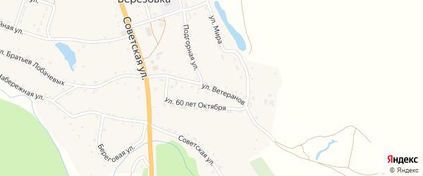 Улица Ветеранов на карте села Березовки с номерами домов