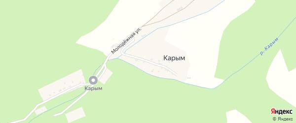 Заречный переулок на карте поселка Карыма с номерами домов