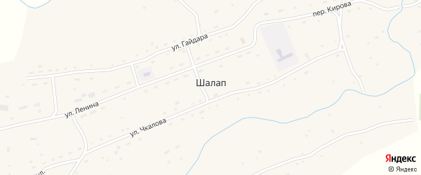 Набережный переулок на карте села Шалапа с номерами домов