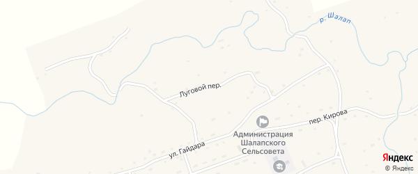 Луговой переулок на карте села Шалапа с номерами домов