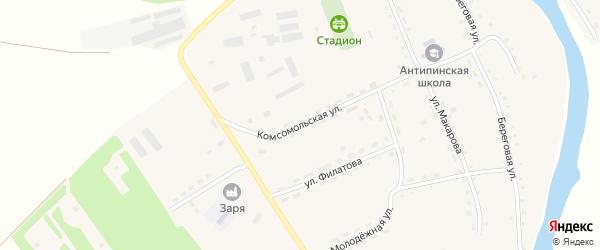 Комсомольская улица на карте села Антипино с номерами домов