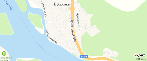 Трактовая улица на карте поселка Дубровки с номерами домов