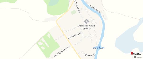 Карта села Антипино в Алтайском крае с улицами и номерами домов