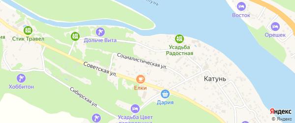 Социалистическая улица на карте поселка Катуня с номерами домов