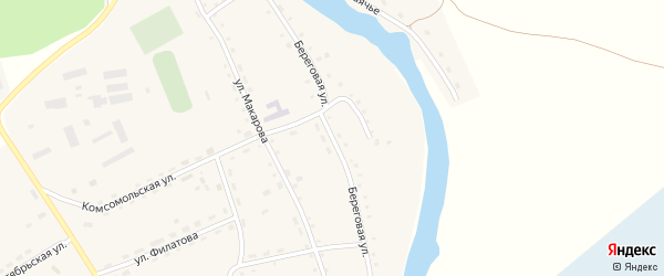 Береговая улица на карте села Антипино с номерами домов