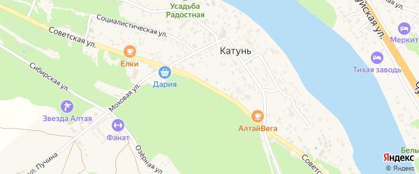 Советская улица на карте поселка Катуня с номерами домов