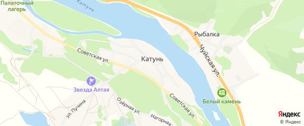 Территория Остров Пихтовый на карте поселка Катуня с номерами домов