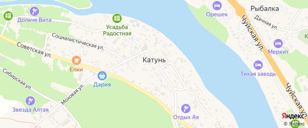 Катунская улица на карте поселка Катуня с номерами домов