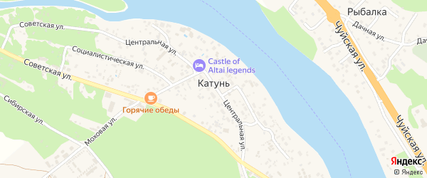 Ключевая улица на карте поселка Катуня с номерами домов