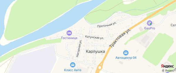 Катунская улица на карте поселка Карлушки с номерами домов