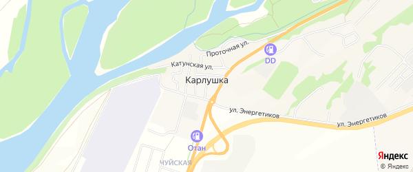 Карта поселка Карлушки в Алтае с улицами и номерами домов