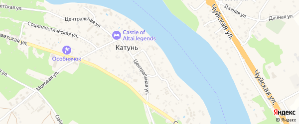 Набережная улица на карте поселка Катуня с номерами домов