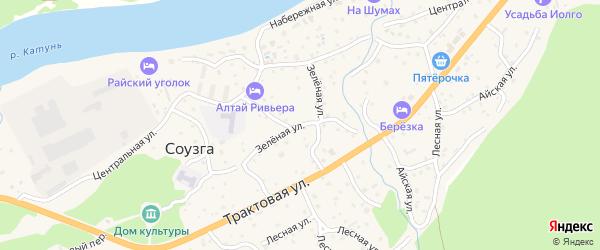 Зеленая улица на карте села Соузги с номерами домов