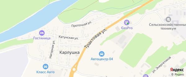 Трактовая улица на карте поселка Карлушки с номерами домов