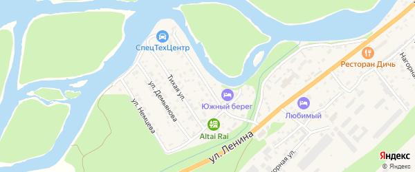 Прибрежная улица на карте села Майма с номерами домов