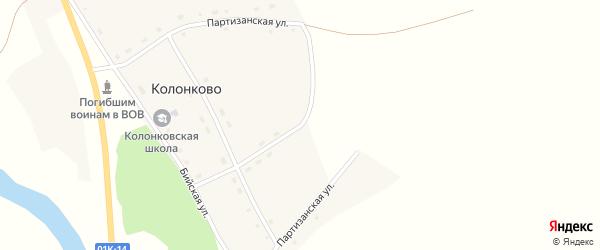 Партизанская улица на карте села Колонково с номерами домов