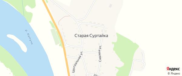 Дачная улица на карте поселка Старой Суртайки с номерами домов