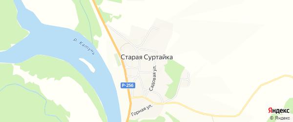 Карта поселка Старой Суртайки в Алтайском крае с улицами и номерами домов