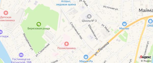 Спортивный переулок на карте села Майма с номерами домов