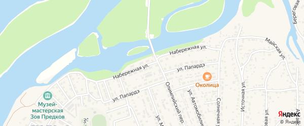 Набережная улица на карте села Майма с номерами домов