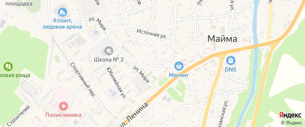 Солнечный переулок на карте села Майма с номерами домов