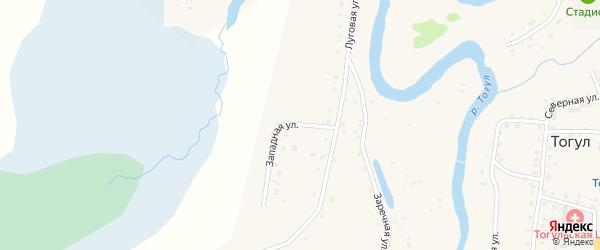 Западная улица на карте села Тогула с номерами домов