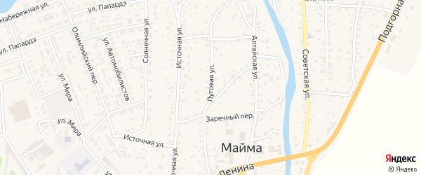 Луговая улица на карте села Майма с номерами домов