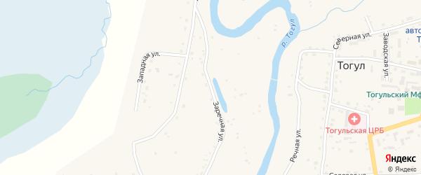 Заречная улица на карте села Тогула с номерами домов