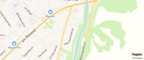 Партизанская улица на карте села Майма с номерами домов
