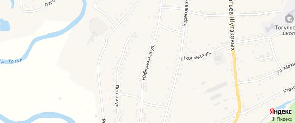 Набережная улица на карте села Тогула с номерами домов