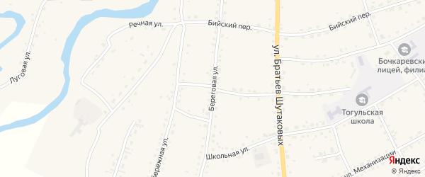 Береговая улица на карте села Тогула с номерами домов