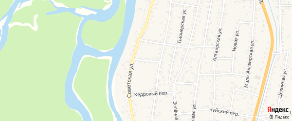 Красноармейский переулок на карте села Майма с номерами домов